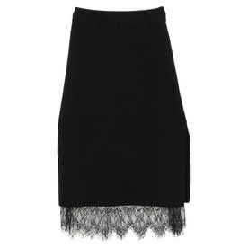 裾レースタイトスカート (BLACK)