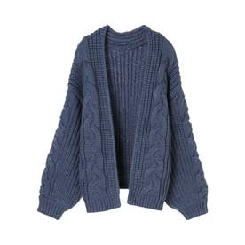 ケーブル編みボリュームカーディガン (BLUE)