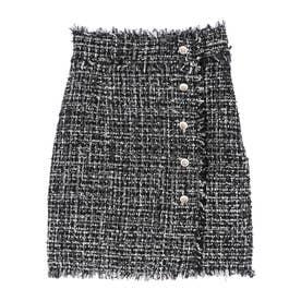 ツイードハイウエストタイトスカート (BLACK)