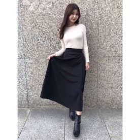 ストレッチフェイクウールフレアスカート (BLACK)