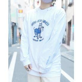 DUST AND ROCKS × Yutaka Nojima Long Sleeve T-shirts -Dog Race- (BLU)
