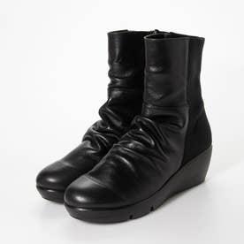 楽ちん 4Eふかふか厚底 ストレッチ切り替えブーツ (ブラック)