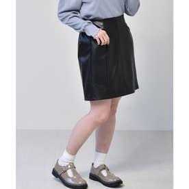 レザーミニスカート (ブラック)