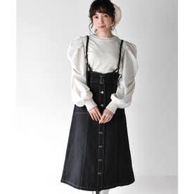 サス付配色ステッチスカート (ブラック)