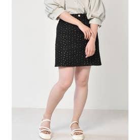 花刺繍ミニスカート (ブラック)