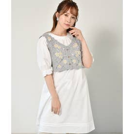【セットアイテム】花刺繍ビスチェ付ワンピース (ガラ(ホワイト))
