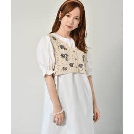 【セットアイテム】花刺繍ビスチェ付ワンピース (ガラ(ブルー))