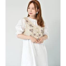 【セットアイテム】花刺繍ビスチェ付ワンピース (ガラ(パープル))