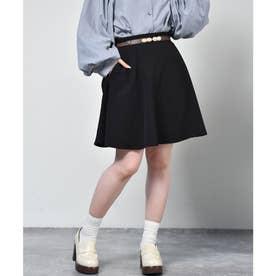 ベルト付ミニフレアスカート (ブラック)