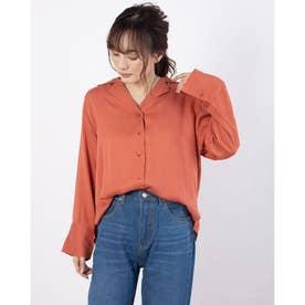 ドロップショルダー開襟シャツ (Orange)