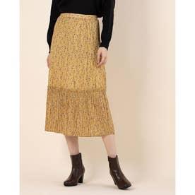 花柄しわプリーツスカート (Yellow)