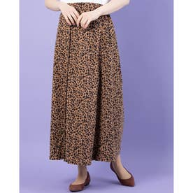 Pスウェード釦ロングスカート (Leopard)