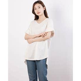 スリットロング丈Tシャツ (Off White)