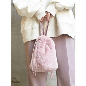 ファー巾着バッグ (Pink)