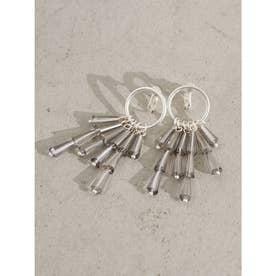 トライアングルビーズイヤリング (Silver)