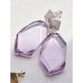 カットクリアアクリルイヤリング (Lavender)