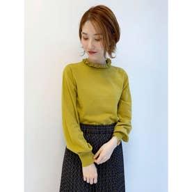 タックフリル衿ニットプルオーバー (Yellow)