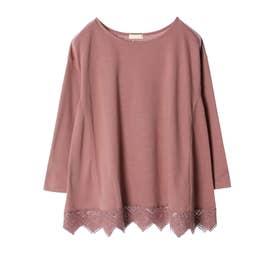 裾レースポンチチュニック (Pink)