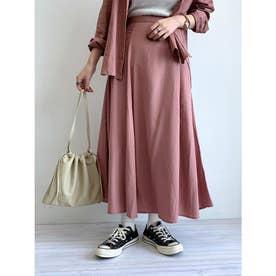 レーヨンリネンフレアスカート (Pink)