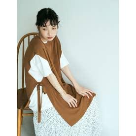 すきな丈バンブーブレンドニットベスト(ロング) (Light Brown)