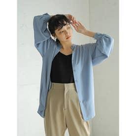 【WEB限定】とろみバンドカラーシャツチュニック (ブルー)