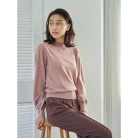 タックフリル衿ニットプルオーバー (Pink)