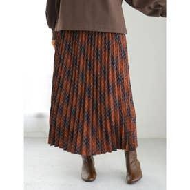 チェックプリーツスカート (Terracotta)