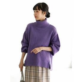 スリットヘムタートルニットプルオーバー (Purple)