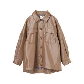 フェイクレザーCPOシャツジャケット (ブラウン)