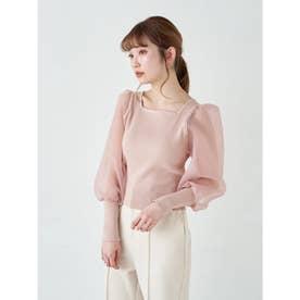 オーガンジースリーブニットプルオーバー (Pink)