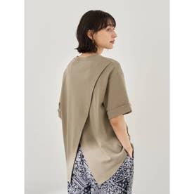 スムースバックスリットTシャツ (Gray Beige)