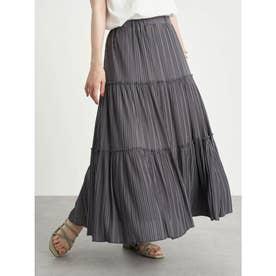 カットチュールプリーツスカート (Charcoal Gray)