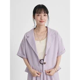 開襟ショートシャツジャケット (Lavender)
