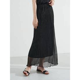 ランダムプリーツシアーラメスカート (Black)