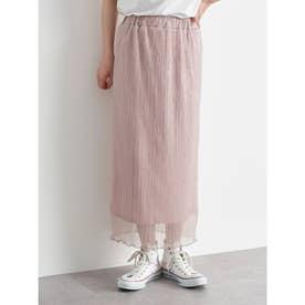 ランダムプリーツシアーラメスカート (Light Pink)