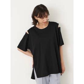 ルーズシルエット肩スリットTシャツ (Black)