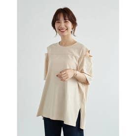ルーズシルエット肩スリットTシャツ (Light Beige)