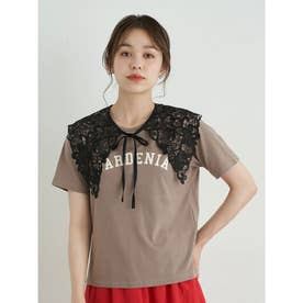 【WEB限定】[SET2点]Tシャツ+レース衿 (モカ)