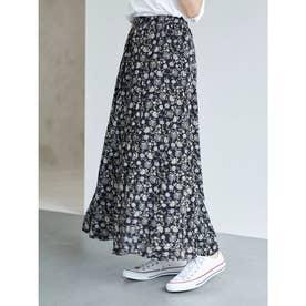 更紗フラワープリントスカート (Black)