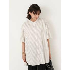 ロールアップスリーブシャツチュニック (Stripe Ivory)