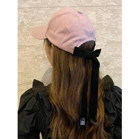 BACKベロアリボンキャップ(ピンク)