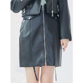 FRONTジップフェイクレザースカート(セットアップ)(ブラック)