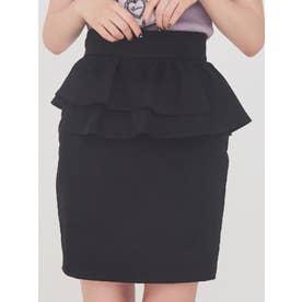 アシンメトリーペプラムスカート(ブラック)