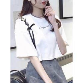 シングルレースアップTシャツ(オフホワイト)