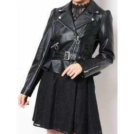 ペプラムライダースジャケット(ブラック)
