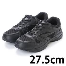 シンプルスニーカー 黒い運動靴 メッシュ素材 (BLACK) (ブラック)