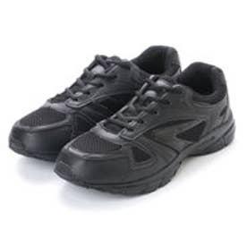 シンプルスニーカー 黒い運動靴 メッシュ素材 (BLACK)