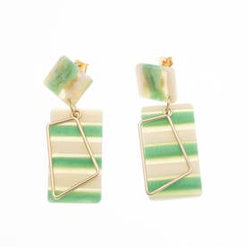 TRUNK SHOW スクエアピアス (Green)