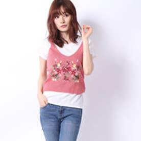 アースミュージックアンドエコロジー 【RAY CASSIN】ビッグ刺繍ニットタンク×Tシャツセット (ピンク)