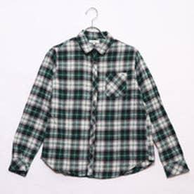 アースミュージックアンドエコロジー ネルチェックシャツ (グリーン)